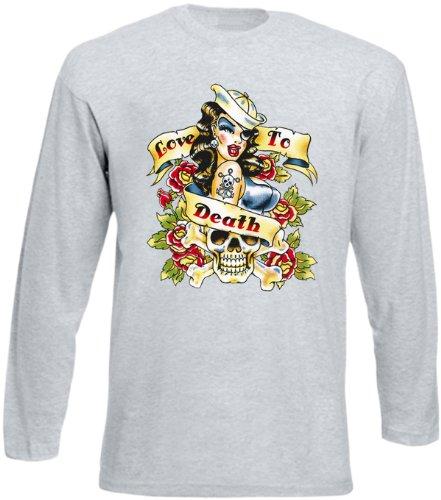 Langarm Shirt Longsleeve - Love to Death Tag der Toten Blumen Skull Dia de Los Muertos Girl in Grau Gr. XXL : (Death The Kid Girl Kostüm)