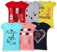 SOUTH SAILOR Girls Cotton Regular fit T-Shirt (Multicolor_2 to 16 Years) Pack of 6