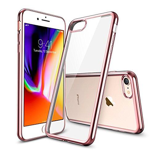 Cover iphone 8, cover iphone 7, esr custodia trasparente morbida di tpu [ultra leggere e chiaro] con paraurti placcati per apple iphone 8/7 da 4.7 pollici. (oro rosa)