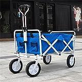 Ali Lamps@ Vier Runden kleinen Warenkorb/Sommer Tage zwei Farben Shopping Travel Trolley/Strand Angeln Gepäckwagen/täglich Van/Last 68 Kg (Farbe : Blue)