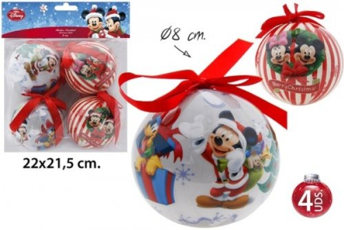 Disney Mickey & Minnie - Decorazioni natalizie a cuore, 4 pz, ø 8 cm