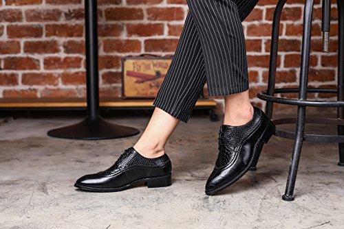JOYTO Chaussure Homme Cuir, Lacets Derby Mariage Dressing Oxford Business Cuir Vernis Brogue Noir Marron Rouge Jaune 37-48EU Noir