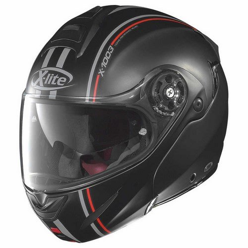 X-lite X-1003 MILLSTATT Klapphelm Motorrad n-com Composite - matt schwarz rot Größe L