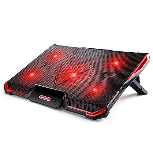 Laptop Kühler für 12 - 17 Zoll ,Energiesparen Notebook Kühlung mit 5 Ruhige Lüfter und roten LEDs PC Kühler ,7 höheverstellbar Stand Kühlpad Kühlmatte, 2 USB-Anschlüssen, verstellbare Windgeschwindkeit Cooling Pad für Gamer Gaming