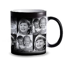 Tasse - Schwarzer Becher mit Farbwechsel-Effekt - Personalisiert mit Fotos - Individuelle Zaubertasse mit Thermoeffekt als Geschenkidee für Männer und Frauen - Magische Kaffeetasse