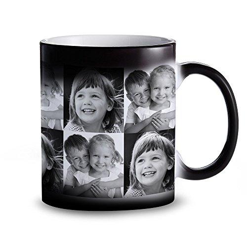 Tasse – Schwarzer Becher mit Farbwechsel-Effekt - Personalisiert mit Fotos – Individuelle...