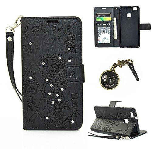 Preisvergleich Produktbild für Smartphone P9 Lite Hülle,Hochwertige Kunst-Leder-Hülle mit Magnetverschluss Flip Cover Tasche Leder [Kartenfächer] Schutzhülle Lederbrieftasche Executive Design +Staubstecker (5AA)