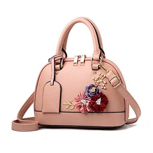 JUND Damen PU Leder Umhängetasche Elegant Blumenmuster Handtasche Mode Lässig Shell tasche Messenger Bag Frau Ledertasche