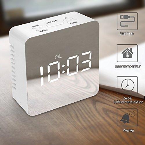 Mibote LED Wecker Digital Reisewecker mit Temperaturanzeige Alarmwecker Spiegelwecker Innen Schlummerfunktion 12h 24h Format Nachtmodus 2X Helligkeitsstufen Intuitive Tasten-Bedienung Weiß