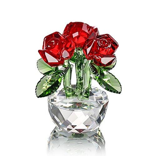 H y D color rojo rosa de cristal adorno de figuras de ramo de flores c