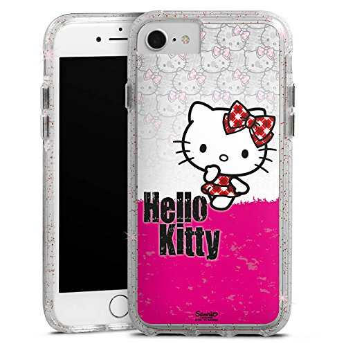 Apple iPhone 7 Bumper Hülle Bumper Case Glitzer Hülle Hello Kitty Merchandise Fanartikel Merchandising Pour Supporters Bumper Case Glitzer rose gold