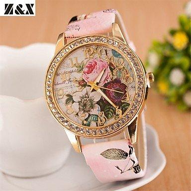 Schöne Uhren, Böhmen Diamant Blumen Quarz Analog Halskette Uhr der Frauen (verschiedene Farben) ( Farbe : Rosa ) (Quarz-diamant-halskette)