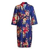 HX fashion Umstandsmode Damen Frau Schwangere Nachthemd Langarm Classic V Ausschnitt Blumen Pyjamas Vintagebequem Weiches Schwangere Kimono Sleepwear Kleidung (Color : Dunkelblau, Size : L)