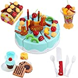Toyshine 75 Pcs DIY Fruit Birthday Cake Pretend Play Kitchen Toy With Music And Lights