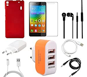 NIROSHA Tempered Glass Screen Guard Cover Case Charger Headphone USB Cable car for Lenovo K3 Note - Combo