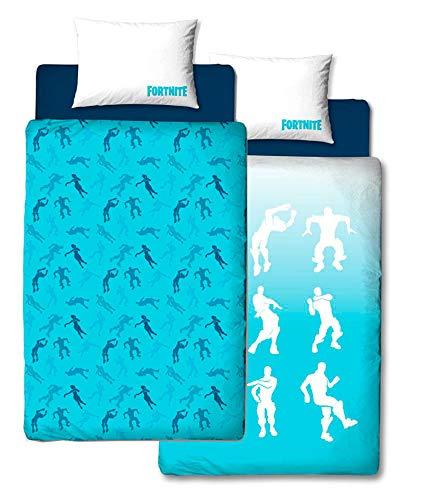 Fortnite Offizieller Bettbezug für Einzelbett, Shuffle-Design, wendbar, zweiseitig, Battle Royale Bettwäsche mit passendem Kissenbezug, blau, Einzelbett