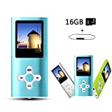 Btopllc MP3 / MP4 Player MP3 16GB Card Reader Hi-Fi Music Player Portable 1.7 inch LCD MP3 / MP4 Player Media Player with Mini USB Port USB Cable / MP3 Music Player Voice Recorder Media Player -Blue