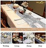 shinybeauty Shimmer Silber - Pailletten Tischläufer tassel-30 X 180 cm, Glitzer Rund Pailletten Stoff für Tisch Läufer in Party Hochzeit Bankett Tisch Leinen Layout oder Dekoration - 5