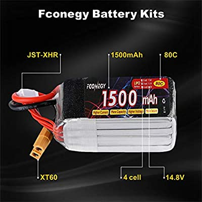 Fconegy 3S 11.1V/4S 14.8V Lipo Battery Pack with for for FPV/Drone/RC Airlane/helicopter/Aircraft