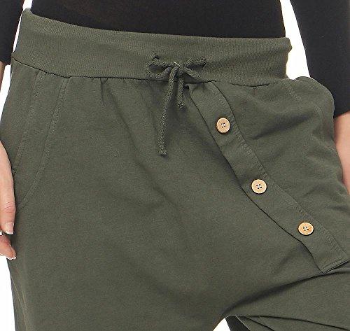malito Urban Pantaloni Aladin Sbuffo Pantaloni Pump Baggy Yoga 3302 Donna Taglia Unica Oliva