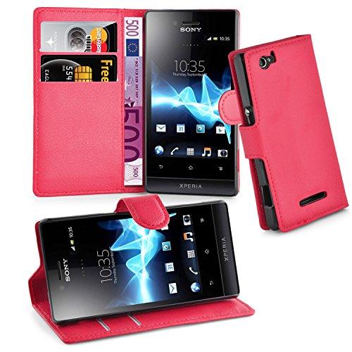 Cadorabo Hülle für Sony Xperia M Hülle in Karmin Rot Handyhülle mit Kartenfach und Standfunktion Case Cover Schutzhülle Etui Tasche Book Klapp Style Karmin-Rot