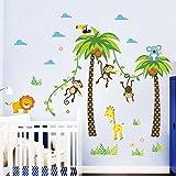 FACAI Abnehmbare Wandtattoo Dschungel Wald Affen Löwe Giraffe, Eule auf bunten Baum Wandsticker für Kinderzimmer Kindergarten Schlafzimmer (grün) Test