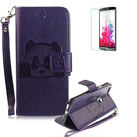 Google Pixel XL Case [with Free Screen Protector], Funyye PU Leather Flip Magnetic Closure Wallet Stand Book Style With Wrist Strap Credit Card Holder Case Cover Shell Cute Animal Panda Pattern for Google Pixel XL - Purple