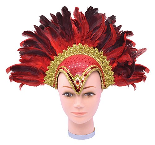 Bristol Novelty Ba071a casque de plumes Rouge Bijou Plus Plume, taille unique