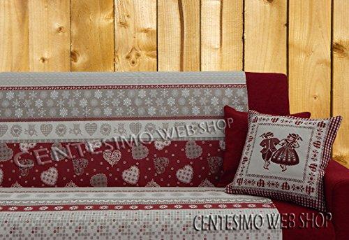 Centesimo Web Shop Telo ARREDO COPRITUTTO 2 Misure Prodotto in Italia Gran Foulard Multiuso Tuttofare COPRIDIVANO COPRIPOLTRONA - Tirolese Shabby Cuori - 160x290 cm Rosso