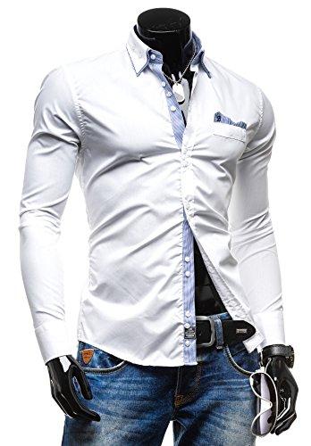 BY MIRZAD Herrenhemd Freizeithemd Langarm Slim Fit Figurbetont NEW 4785 Weiß