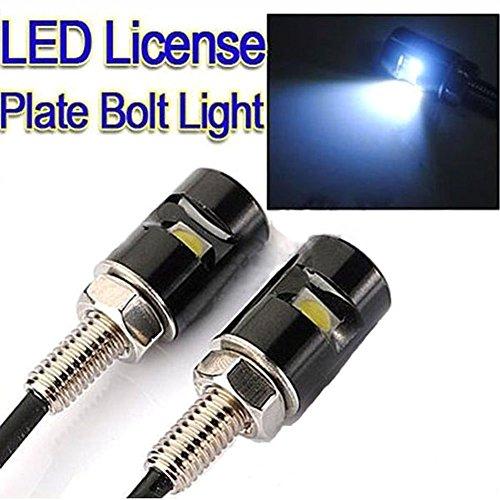 Rupse 2 * weiß LED Motorrad und Auto Nummernschild Schrauben  Kennzeichenbeleuchtung Rauber License Plate