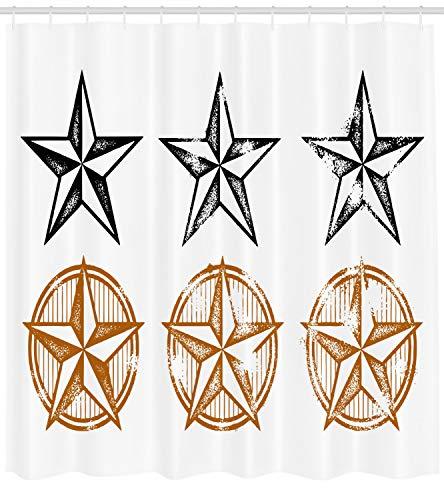 Abakuhaus Texas Star Duschvorhang, Westliches Muster, mit 12 Ringe Set Wasserdicht Stielvoll Modern Farbfest und Schimmel Resistent, 175x220 cm, Hellbraun Weiß und Schwarz