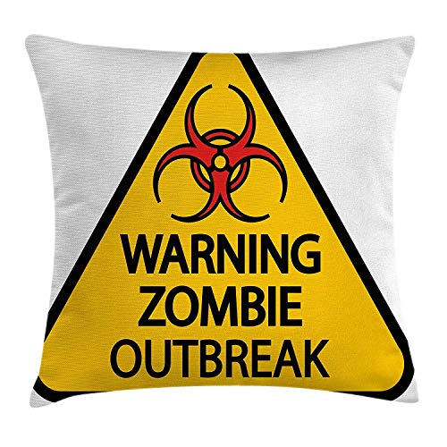 Zombie Decor Throw Pillow Cushion Cover, Warning Zombie Outbreak Sign Cemetery Infection Halloween Graphic, Decorative Square Accent Pillow Case, 18 X 18 Inches, Earth Yellow Red Black