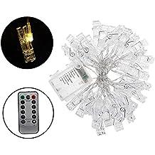 iZiv 40Pcs Clip Cadena de Luces LED, Cadena de Luces Blanco Cálido, 8 Modos