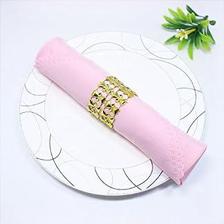 MARGUERAS 100pcs servilleteros de mesa Navidad servilletero anillo Diamante Decoración Navidad Boda, dorado, Paquete de 50