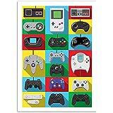 Affiche - Art - Manettes mythiques jeux vidéos - 50 x 70 cm