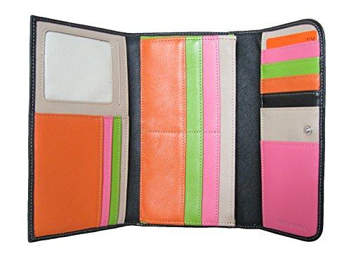 Compagnon Cuir femme - Portefeuille - Porte Chéquier - Porte Carte - Couleur noir - 20 x 12 x 2,5 cm