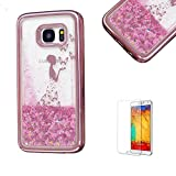 For Samsung Galaxy S7 Edge Case Cover, Funyye New Creative Floating Water Liquid Small Love Hearts Design Luxury Sparkly Lovely (Rose to Gold) Electroplate Plating Frame Crystal Design for Samsung Galaxy S7 Edge- Butterfly Girl