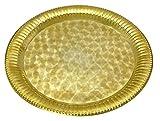 Indische Traditionelles Messing Gold Tonplatte Hindu Religiöser Aarti Diwali Pooja Thali