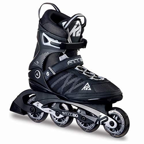 K2 Herren Inline Skates Fit 80, ABEC 5 Kugellager 80mm Rollen 80A Softboot, schwarz 41.5 EU (7.5 UK), 30A0003.1.1.085