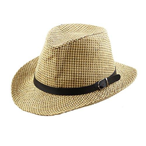 Stroh geflochtene Kunstleder Band Dekor westlichen Stil Sonnenhut Cowboy Hut beige (Outdoor-westliches Dekor)
