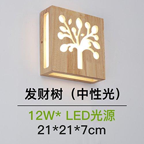 BESPD kreative Holz- Deckenleuchte moderne Schlafzimmer Wohnzimmer Dekoration Licht Nordic Light Holz- Japanische Wandleuchten, B 21 * 21 cm Neutral optische Led (Decke-laterne Japanische)