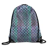 LoveBiuBiu Waterproof Drawstring Backpack for Men & Women Gym School Travel Green Mermaid Scale Style 79