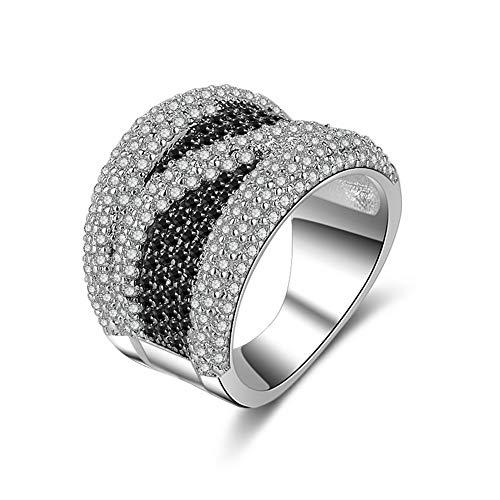 Yazilind Luxus Gehobenen Weißes Gold Überzogen und Zwei Farben Diamant Intarsien Ring für Frauen Party Bankett Kostüm Schmuck Dekor Schwarz - Kostüm Schmuck Diamant Ring