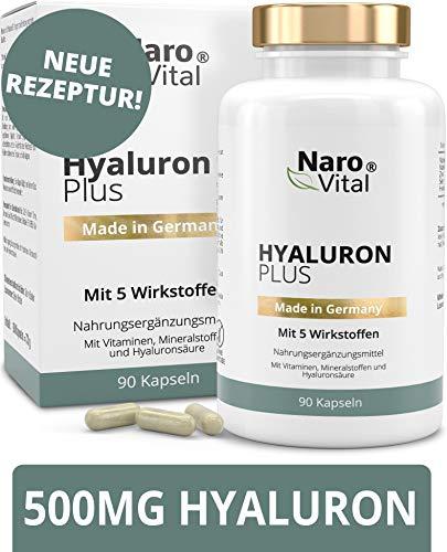 Selen Plus Vitamine (Hyaluronsäure Kapseln - Anti-Aging & Gelenke - Hochdosiert 500 mg pro Kapsel- 500-700 kDa, Vitamin B2, Zink, Selen & Vitamin C - 3 Monatsvorrat - 90 vegane Kapseln - Hyaluron Plus)