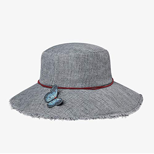 Ylik Fisherman Sun Caps, Mit Schmetterlingszubehör für Shopping, Tourismus, Parks,Gray -