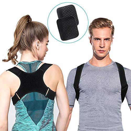 Geradehalter, Sports Geradehalter zur Haltungskorrektur Rücken Verstellbar Schulter Rückenstütze Bandage für Damen Herren haltungsbedingte Nacken, Schulter und Rückenschmerzen (mit 2 Schulterpolster)