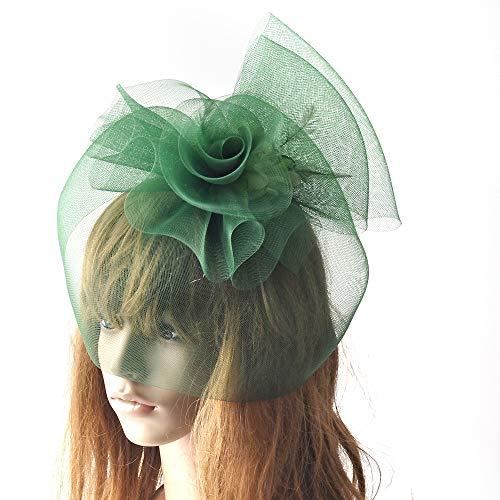 MNII Fascinators Hair Clip Headband Pillbox Feather Flower Veil Hat Bowler Wedding Party Cocktail Hat,Green