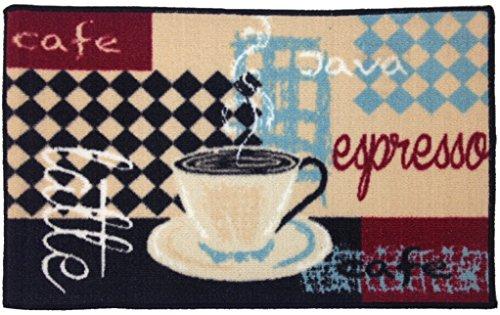 Gourmet Club Anti-Rutsch bedruckt Küche Teppich 18x 28, Polyester-Mischgewebe, Latte Espresso, 18