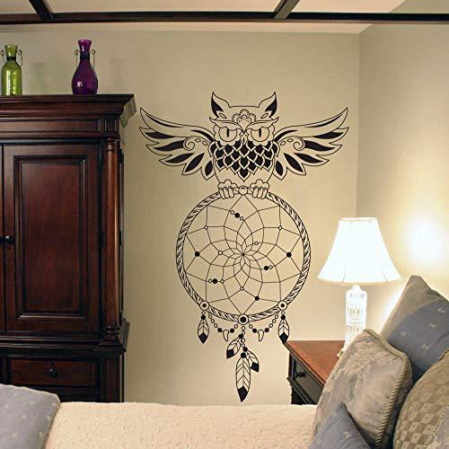 JXFFF Búho atrapasueños Pegatinas de Vinilo de Pared Indio dreamcather Tatuajes de Pared Sala de Estar Dormitorio decoración para el hogar murales de Vinilo extraíbles Negro 57x85 cm